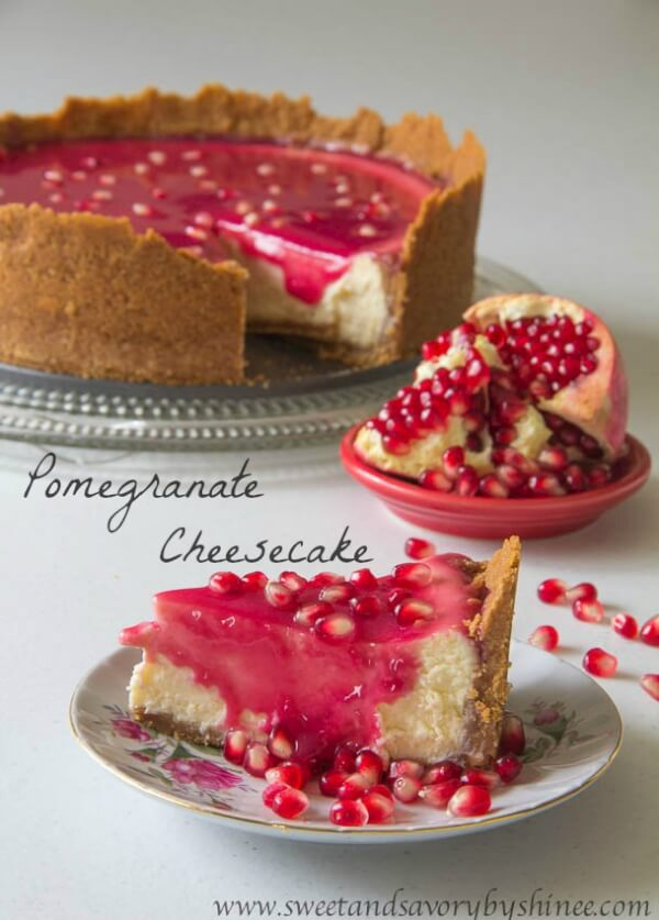 Creamy, smooth cheesecake with not too sweet, yet delicious pomegranate sauce.