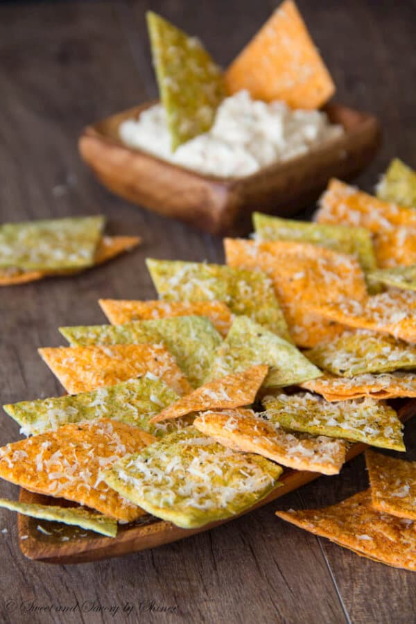 Homemade Spiced Tortilla Chips- Crispy, slightly spicy these chips are so addicting. www.sweetandsavorybyshinee.com