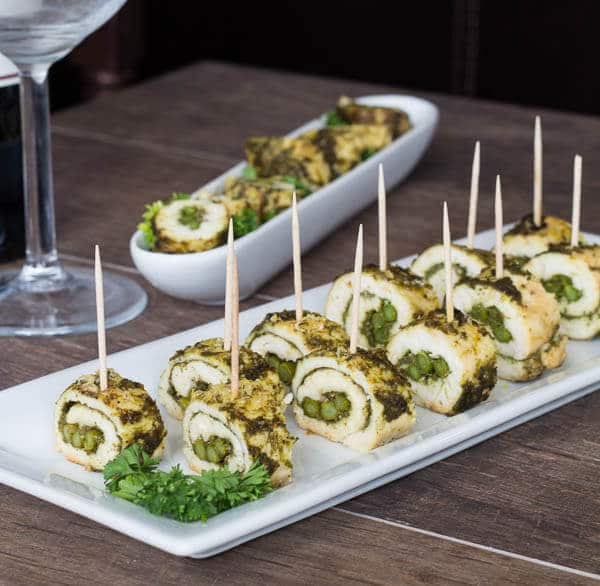 These juicy, tasty chicken rolls seasoned with delicious basil pesto ...