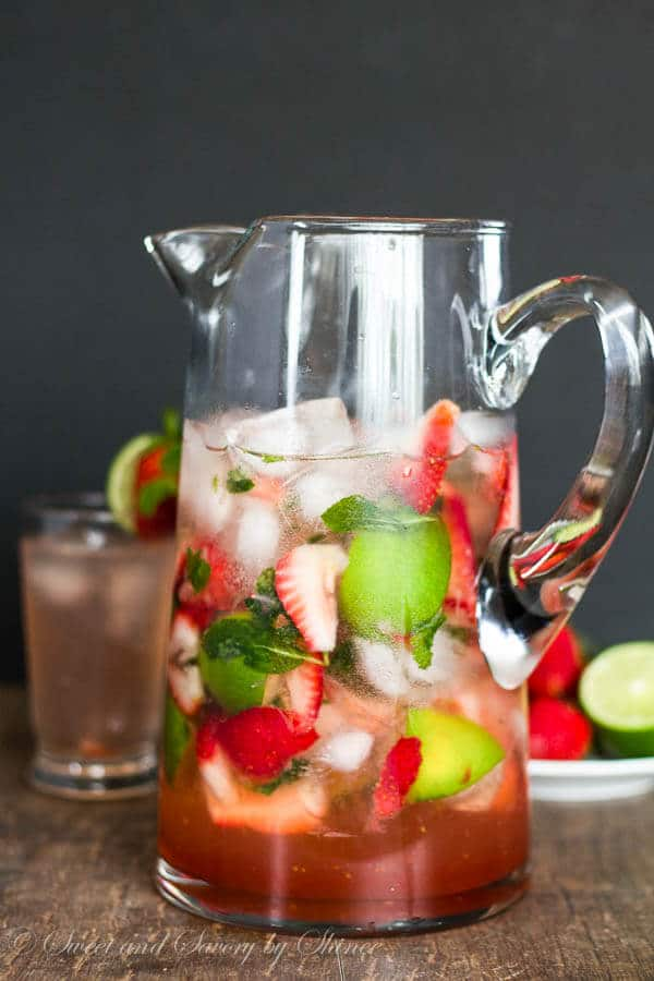Strawberry mojito for a crowd sweet savory by shinee for Pitcher drink recipes for parties