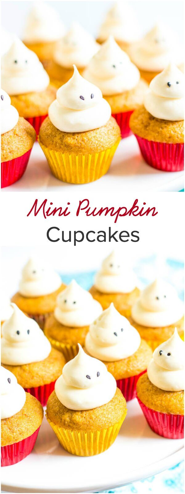 These mini pumpkin cupcakes, topped with classic sweet and tangy cream cheese frosting, are incredibly fluffy, moist, and full of fall flavor. They disappear in seconds!
