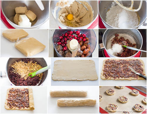 Step by step photo instructions to make pinwheel cookies.