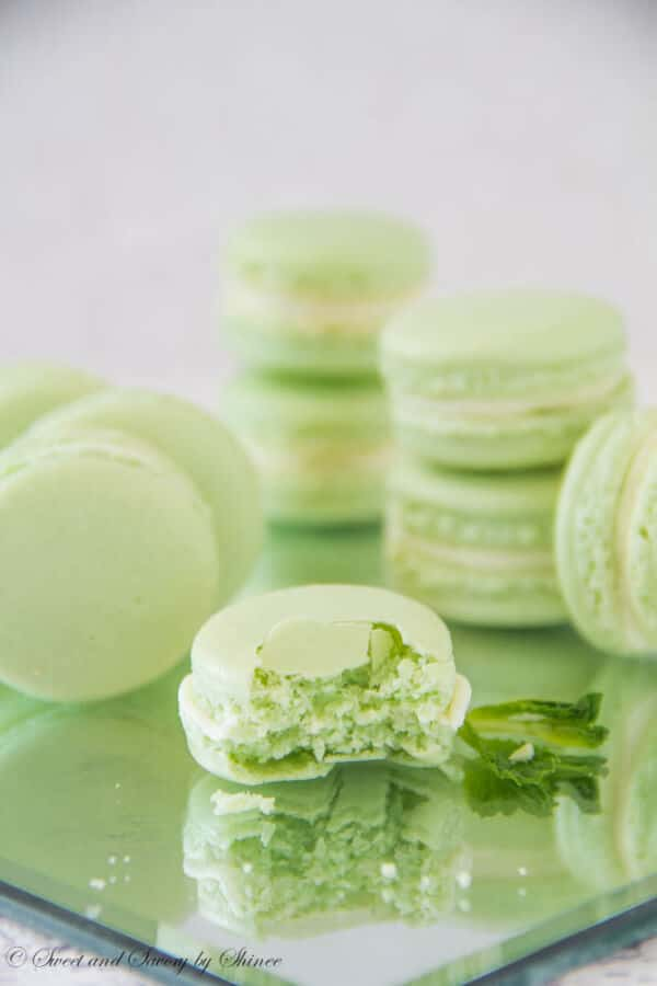 White Chocolate Mint Ganache Macaron