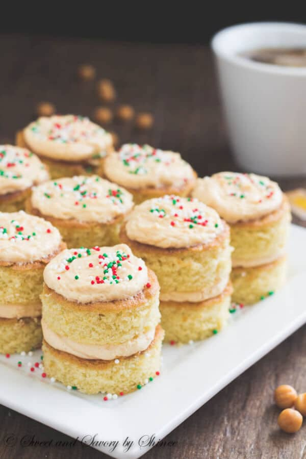 These salted caramel mini layer cakes are moist, flavorful and super cute. Fun holiday dessert!
