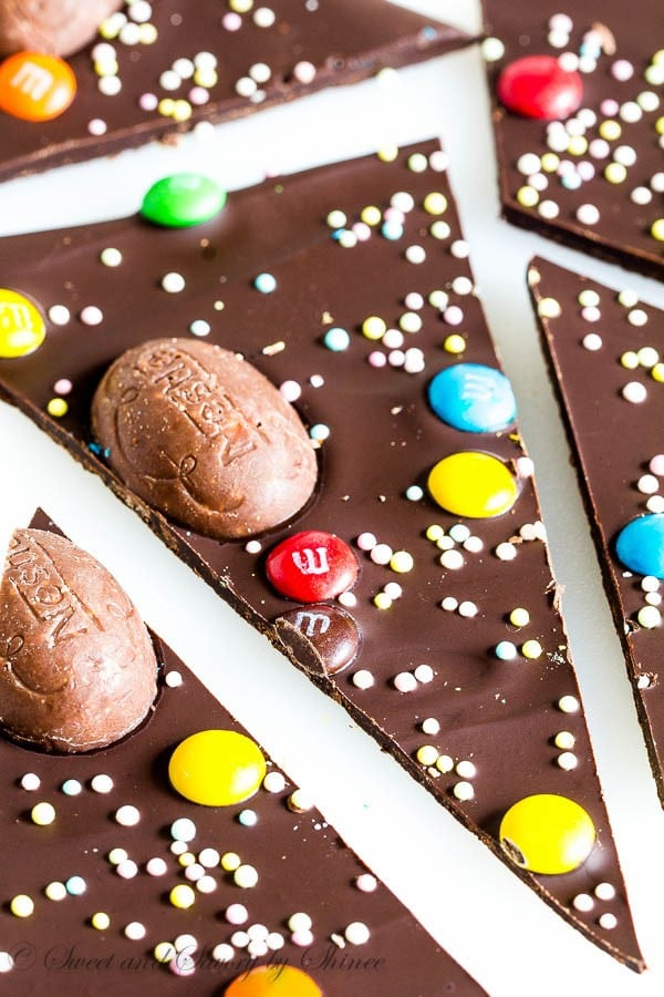 Ridiculously easy chocolate bark topped with colorful Easter candies. The best treat for Easter!