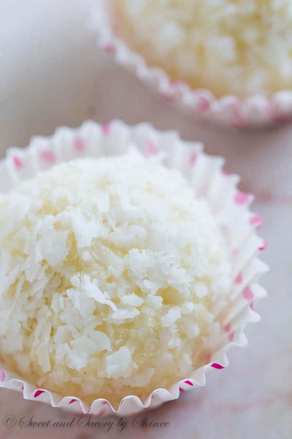 Homemade version of decadent Rafaello candy... These sweet, chewy, buttery coconut almond balls are a delightful treat for any coconut fanatic!