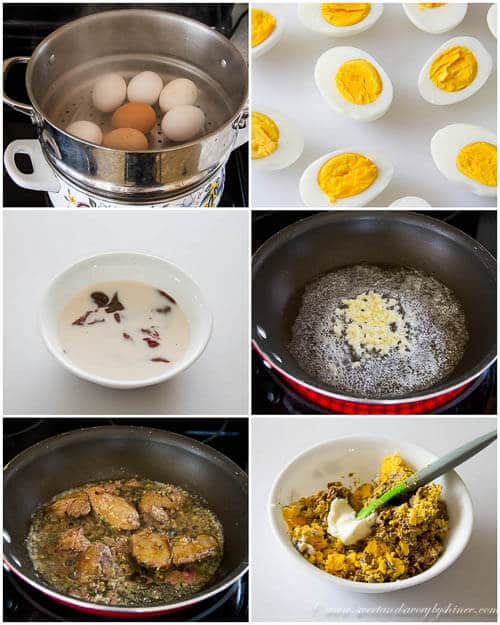 Chicken liver pate deviled eggs- step by step photo instruction