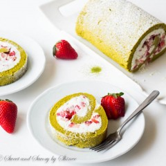 Strawberry Matcha Roll Cake-4