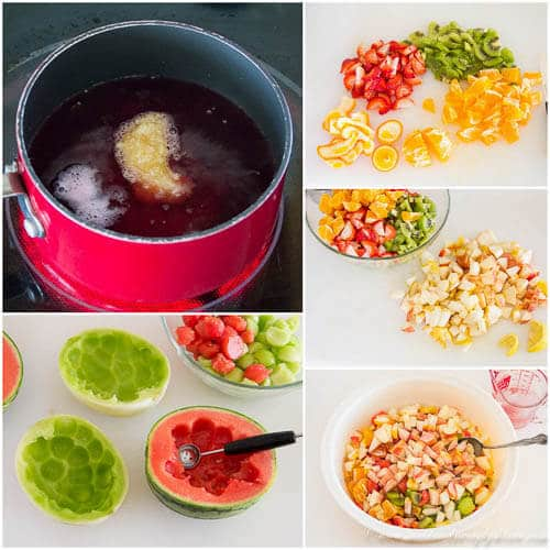 Boozy fruit salad - step by step photo direction