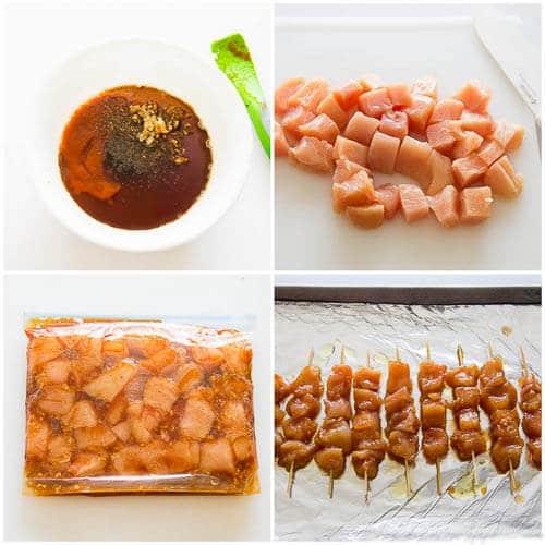 Sweet & spicy chicken skewers- step by step photo tutorial