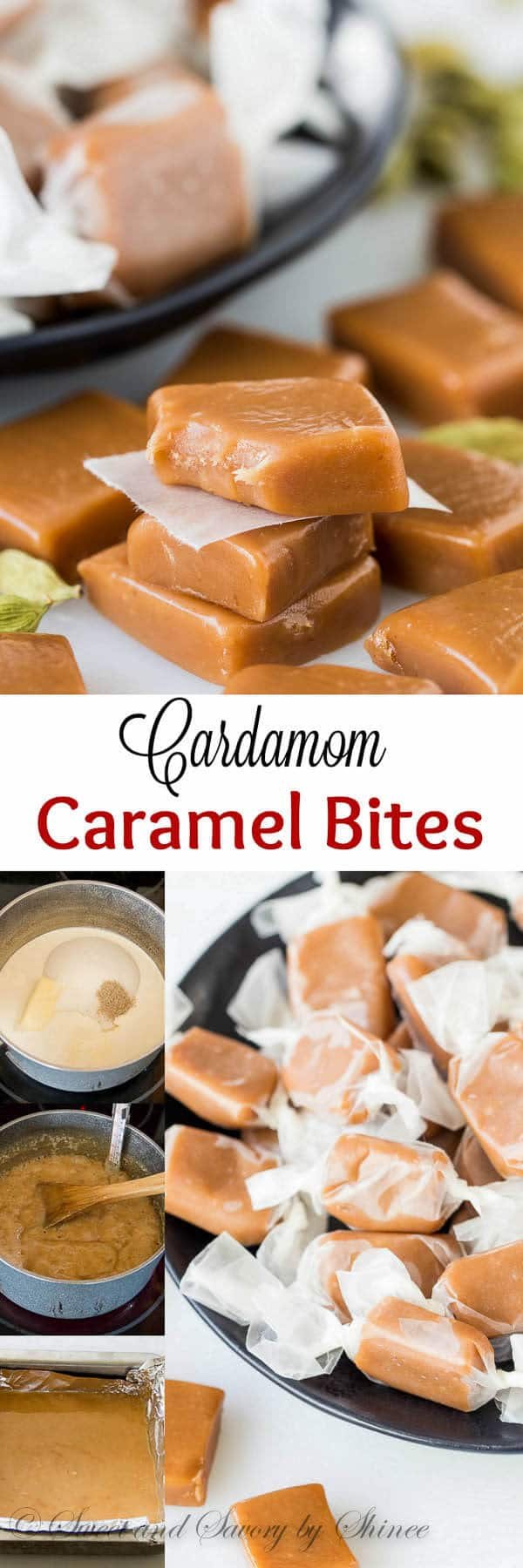 Buttery, soft and chewy caramel bites infused with hint of cardamom. So delightfully addicting! With step-by-step photos and lots of tips.