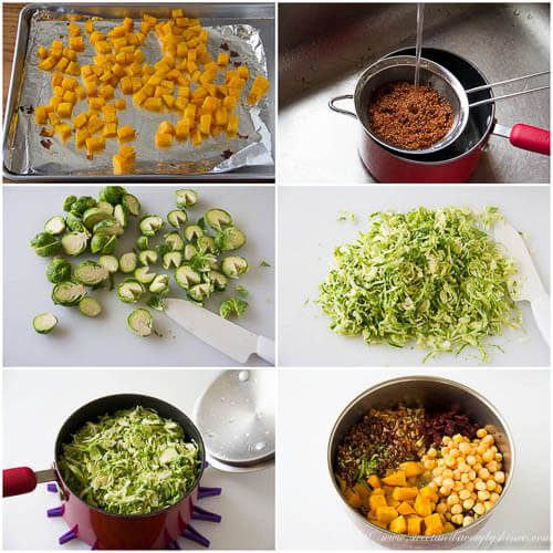 Warm quinoa brussels sprouts salad - step by step photo tutorial
