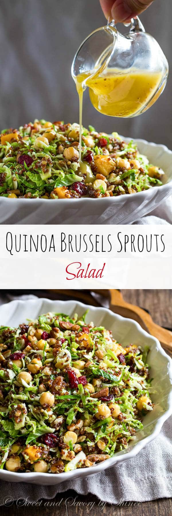 flavor in this festive quinoa brussels sprouts salad. Who said salad ...
