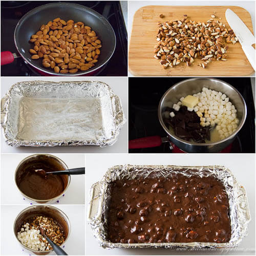 Rocky road fudge- step by step photo tutorial
