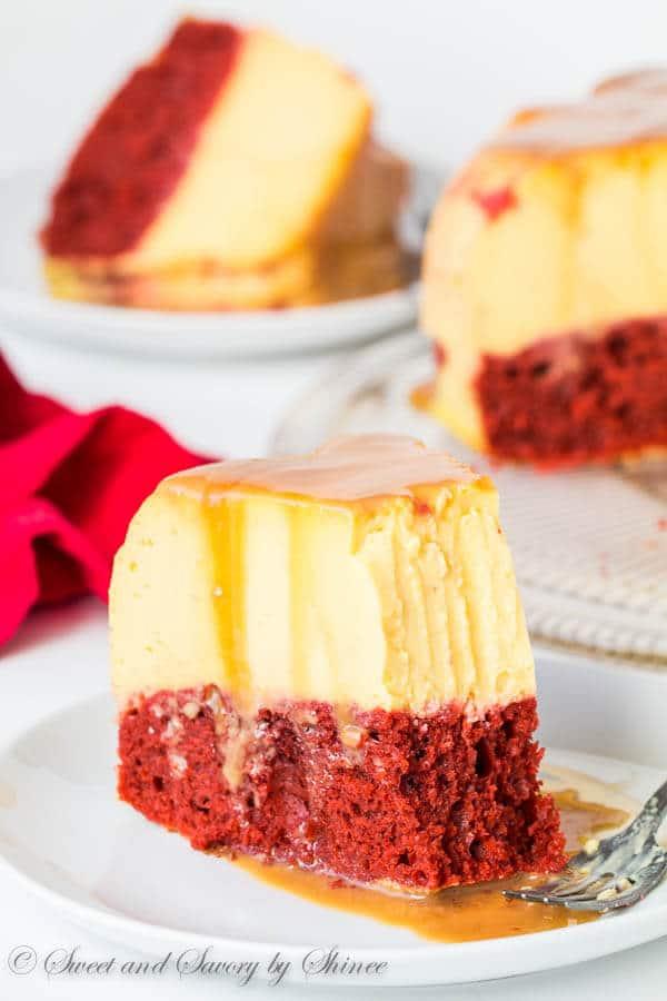 Impress your sweetheart with this fabulous magic red velvet flan cake. This cake is not only stunning to look at, it's also absolutely divine to devour! Plus, something magical happens during baking.