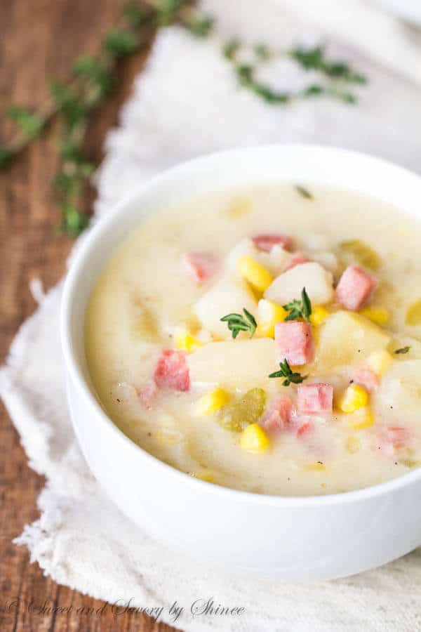 Slow Cooker Ham, Corn & Potato Soup