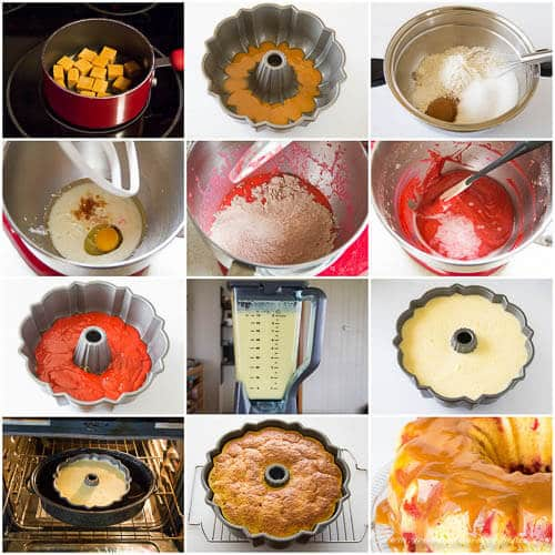 Magic Red Velvet Flan Cake - step by step photo tutorial