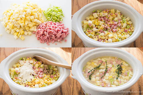 Slow Cooker Ham, Corn and Potato Soup- Step by step photo recipes
