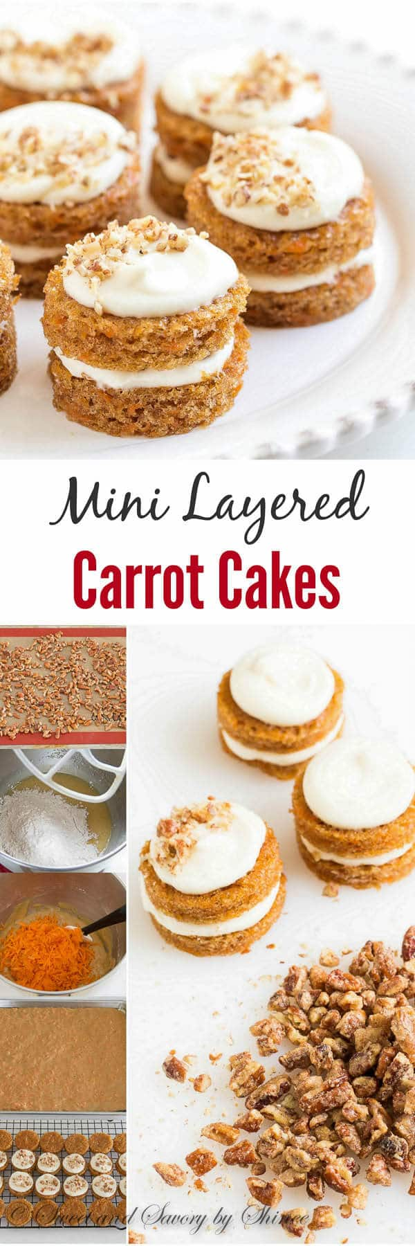 Adorable mini carrot cakes filled with classic cream cheese frosting ...