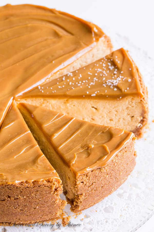 Sweet and creamy with touch of sea salt, this decadent dulce de leche cheesecake is quite a treat!