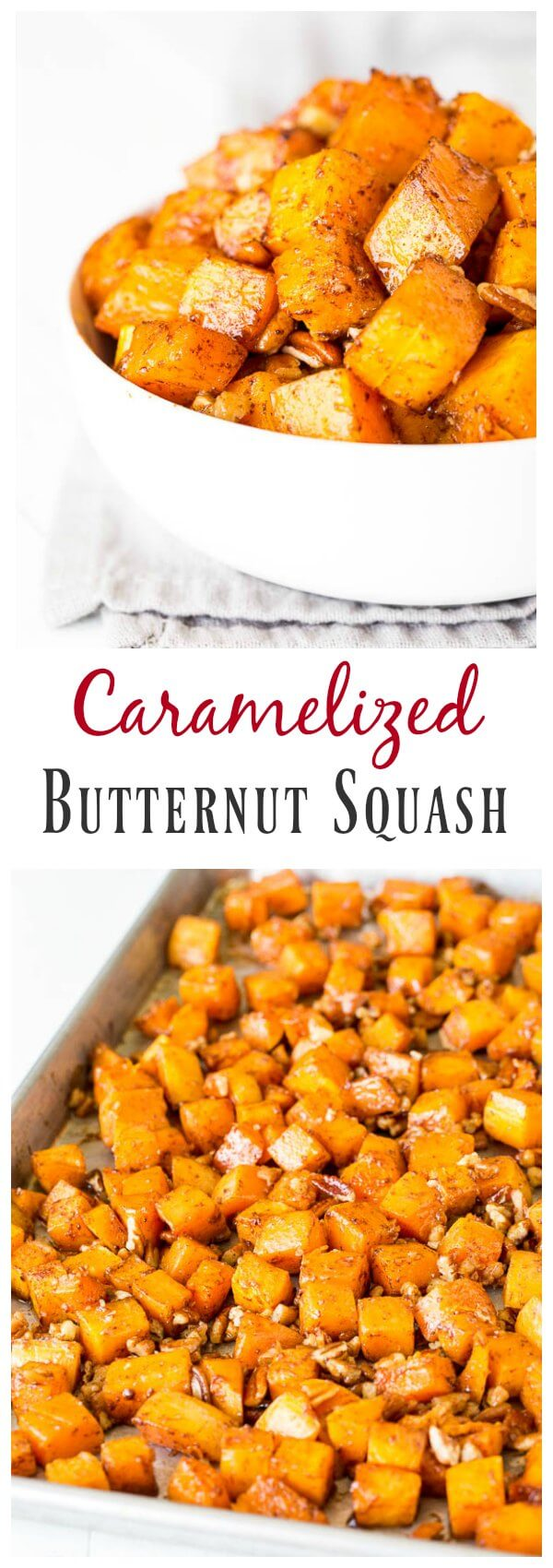 Irresistibly buttery and sweet, this roasted butternut squash with cinnamon feeds a crowd, which makes it perfect addition to your holiday menu!h