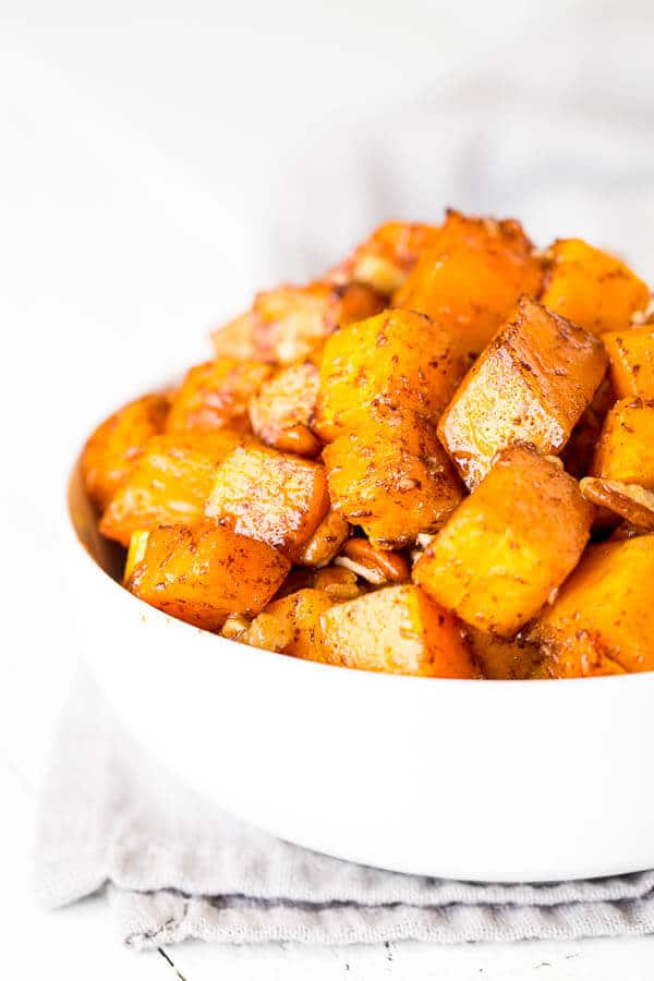 Irresistibly buttery and sweet, this roasted butternut squash with cinnamon feeds a crowd, which makes it perfect addition to your holiday menu!