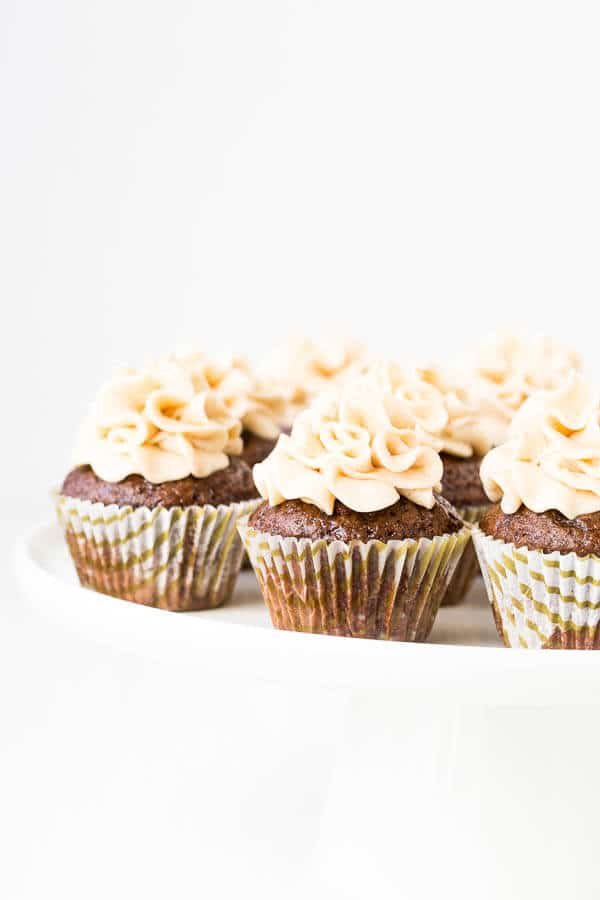 Soft and moist mini chocolate cupcakes soaked with sweetened coffee liquor and topped with fluffy Kahlua buttercream. They're the most adorable little chocolate morsels!
