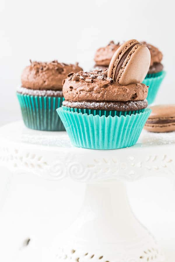Pure indulgence: chocolate cupcakes topped with heaping mountain of chocolate mousse. Unbelievably easy to make and perfect for any occasion!