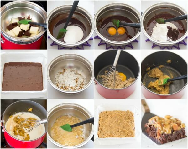 German chocolate brownies with step by step photos