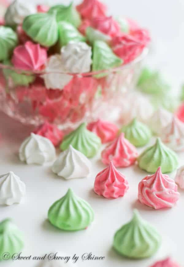 Light as air, melt-in-your-mouth sweet little meringue cookies are fun and colorful for any occasion!