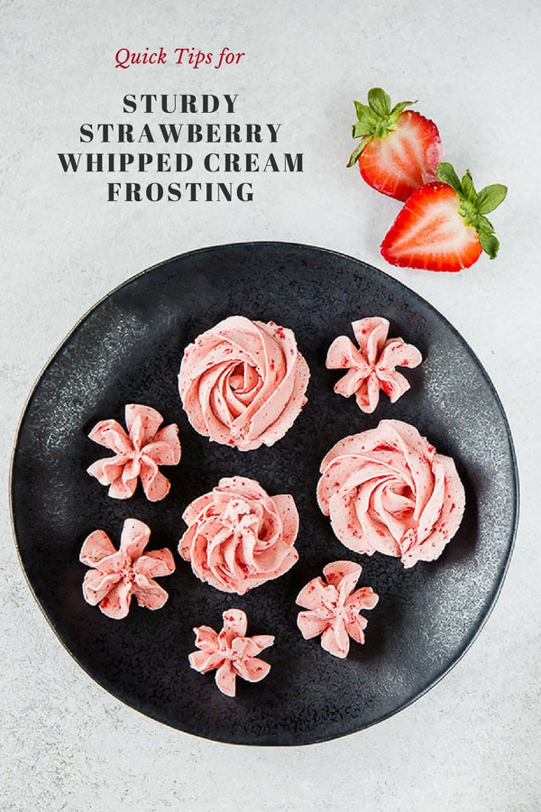 Did you know you can decorate your delicate cakes and cupcakes with simple whipped cream frosting without fear of weeping? I'm sharing a simple tip for whipping fluffy and sturdy whipped cream, stable enough to pipe beautiful rosettes and designs to decorate your cakes and cupcakes. #whippedcreamfrosting #whippedcream #frosting #filling #bakingtips