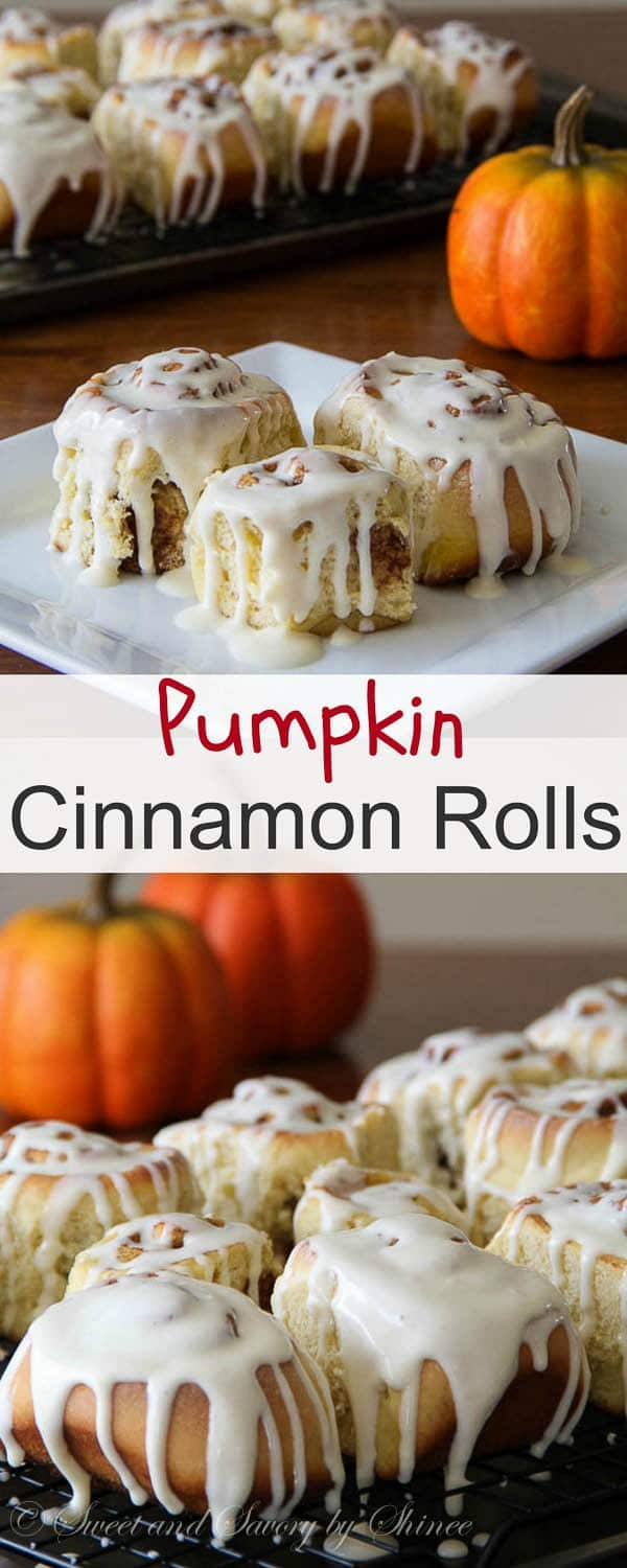 Super moist pumpkin cinnamon rolls with delicious pumpkin-y glaze are perfect for breakfast the day after Thanksgiving!