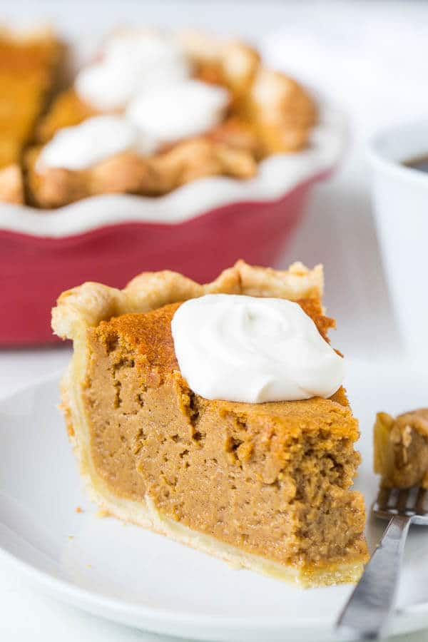 Not your traditional pumpkin pie here. Extra tall filling and incredibly light texture of this pumpkin mousse pie make this pie a winner! It'll be your next family favorite pie!