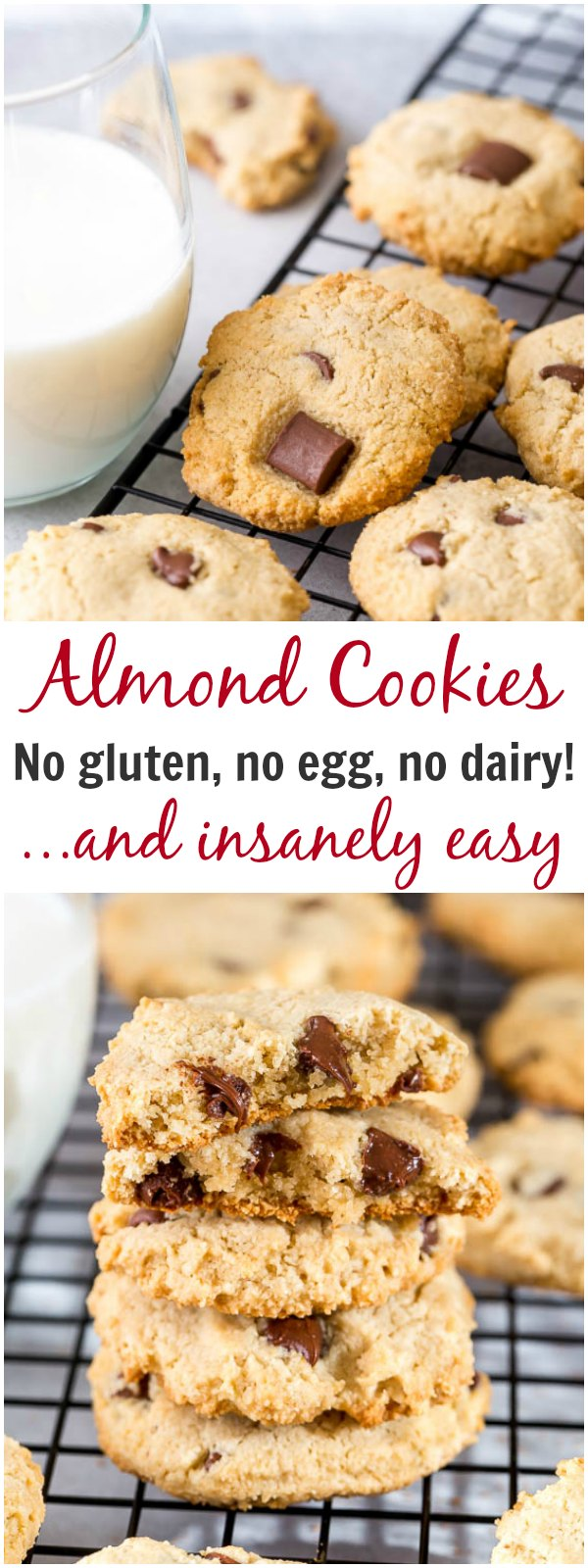 These almond cookies are insanely easy and quick to make! #glutenfreecookies #chocolatechipcookies #paleocookies #almondcookies #glutenfree #dairyfree #eggfree #vegancookies