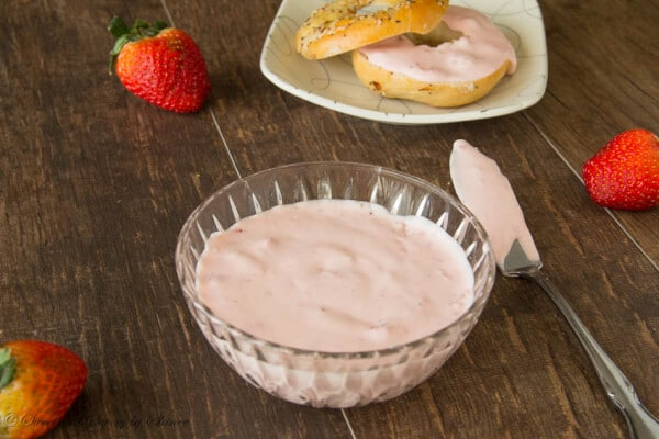 Homemade fluffy cream cheese spread with fresh strawberries- delicious, yet simple to make.