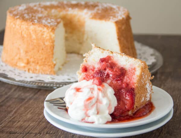 This fluffy, airy angel food cake with strawberry sauce is perfect when you're craving a light dessert.