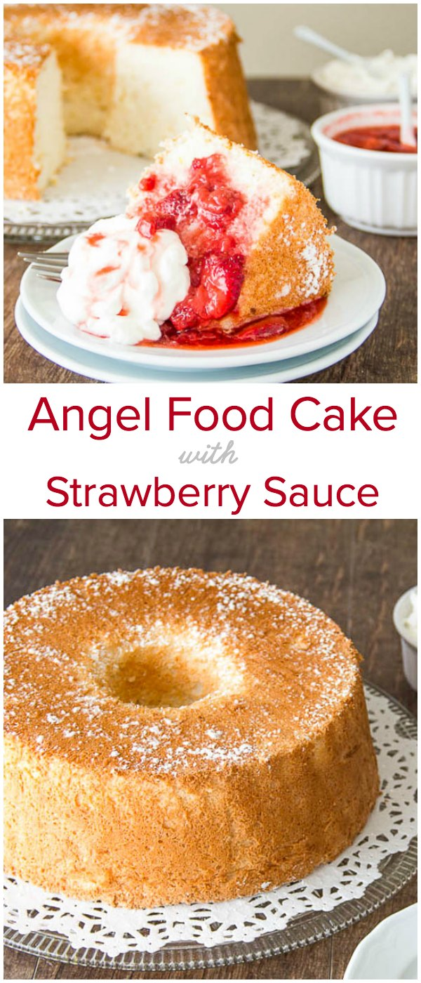 Irresistibly tall and light, this angel food cake is infused with touch of orange zest and served with honey glazed strawberry sauce and whipped cream. A true crowd-pleaser!