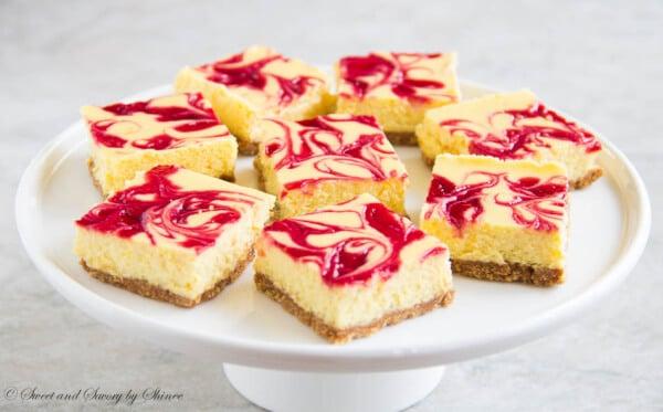 Lemon Raspberry Cheesecake Bars ~Sweet & Savory by Shinee