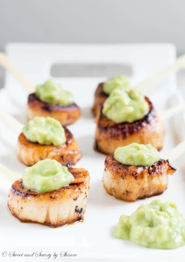 Velvety smooth scallops with beautifully caramelized crust and topped with honey dijon avocado sauce are simple, yet elegant appetizer.