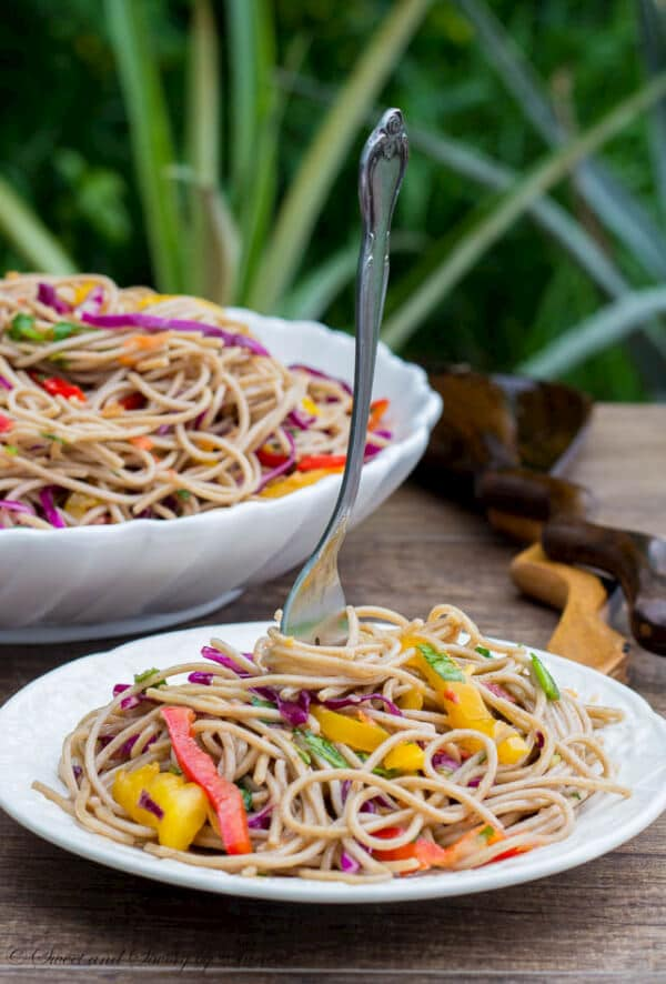 This buckwheat noodle salad bursting with Asian flavors is light, flavorful and healthy side dish for any BBQ dish!
