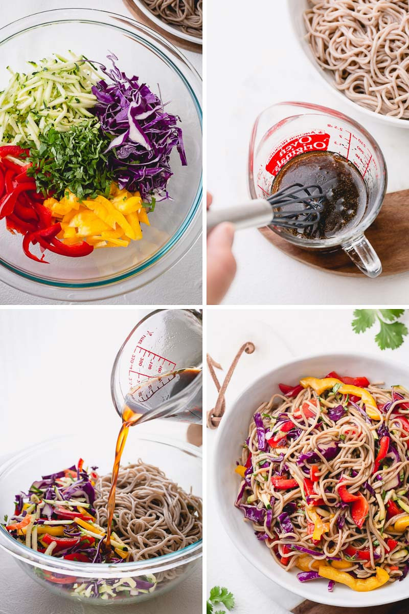 Step by step photos direction for a refreshing and colorful Asian noodle salad. #noodlesalad
