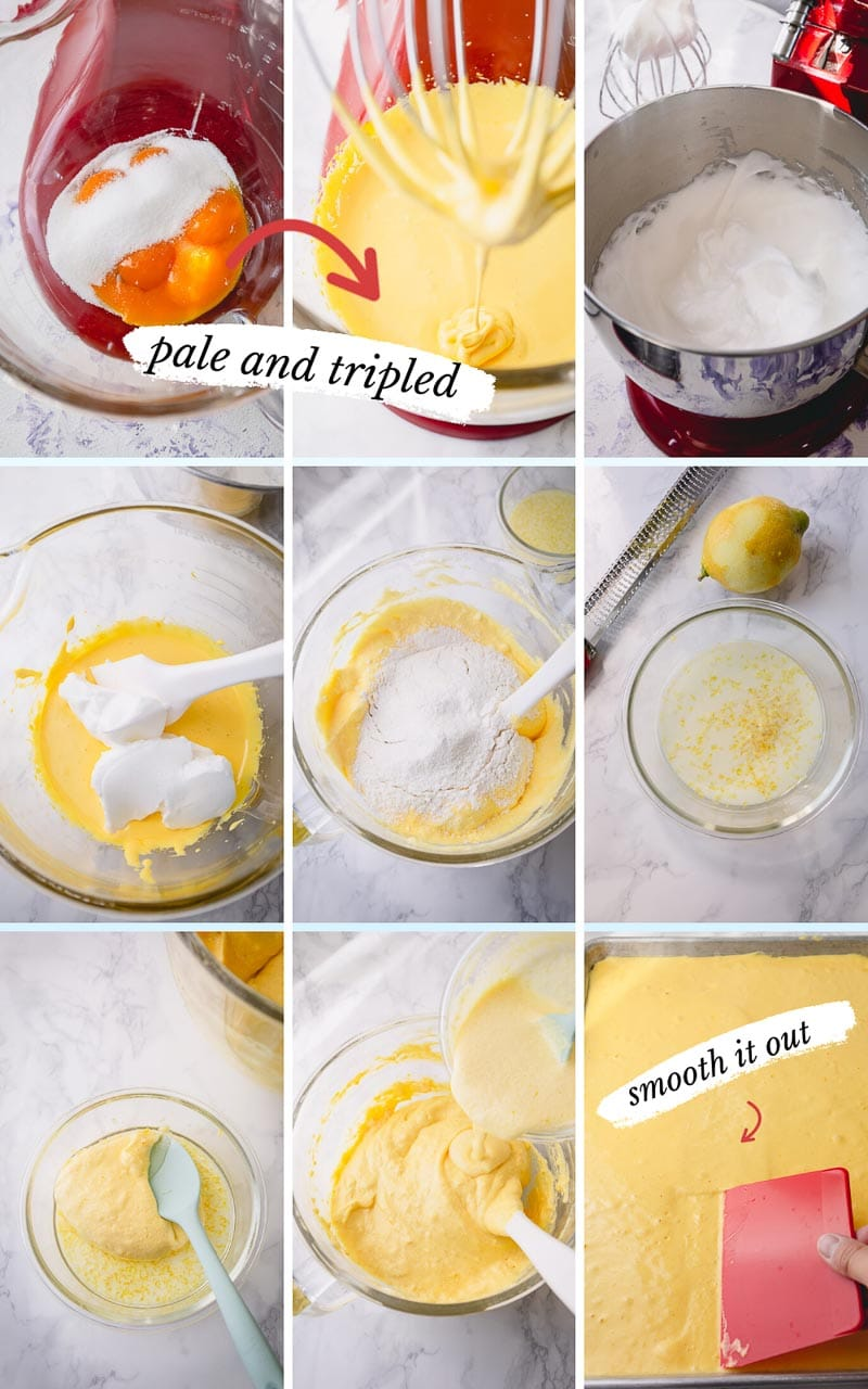 Step by step photos to make light and airy sponge cake batter - foundation to a perfect roll cake. #rollcake #swissrolls #spongecake
