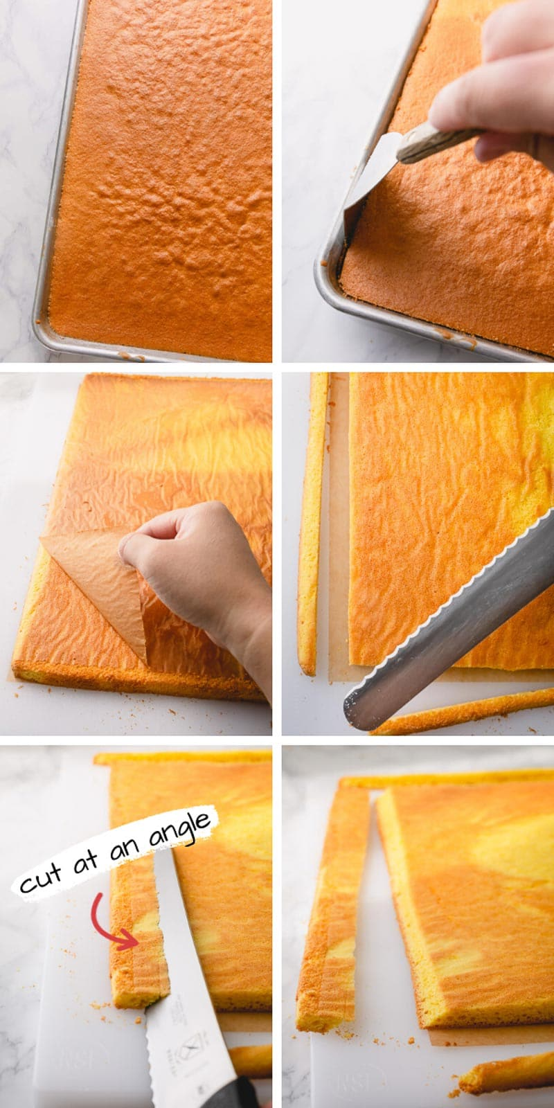 How to cut a sponge cake to make a perfect roll cake. This quick tip helps the cake stand stable. #rollcake #spongecake