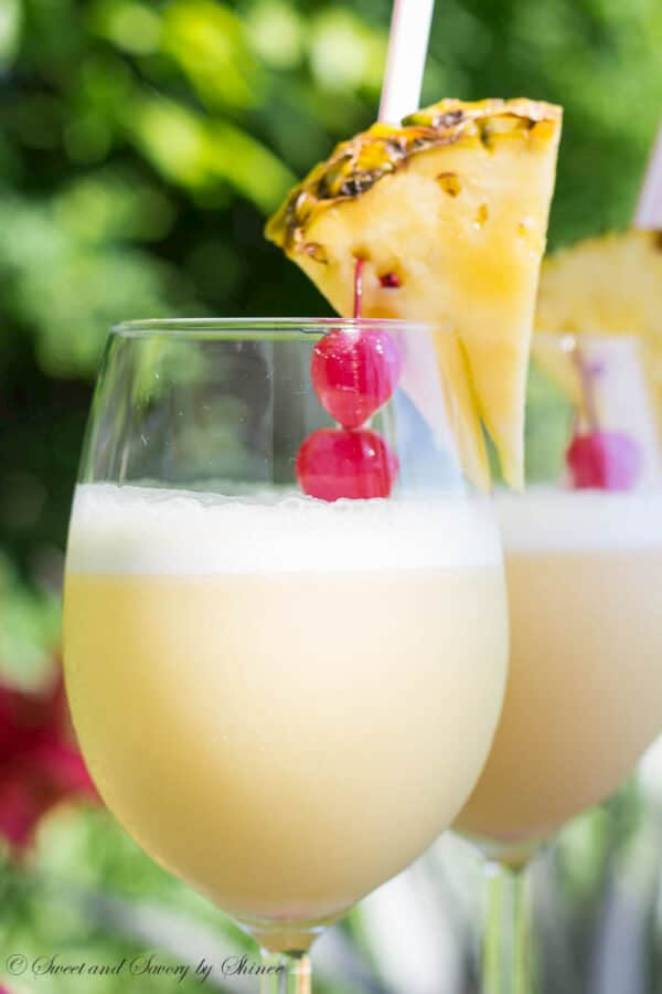 This Pina Colada with splash of orange juice is such a treat and will sure please your guests at dinner party!