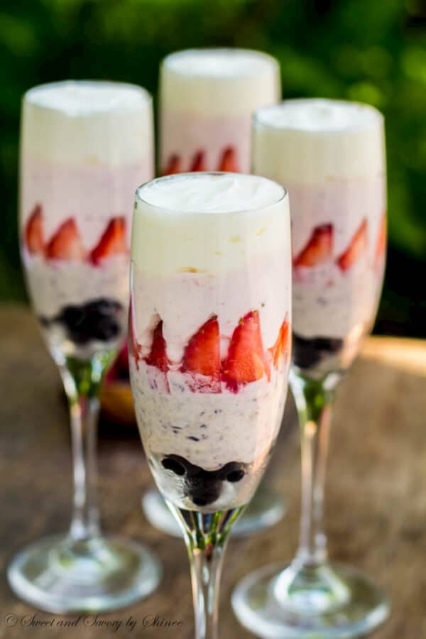 Simple, yet elegant this white chocolate mousse is perfect for your 4th of July celebrations!