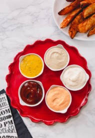 5 easy and delicious dipping sauce recipes for every palate! Incredibly versatile, these easy sauces pair with pretty much anything dippable: steak fries, chicken nuggets, you name it!