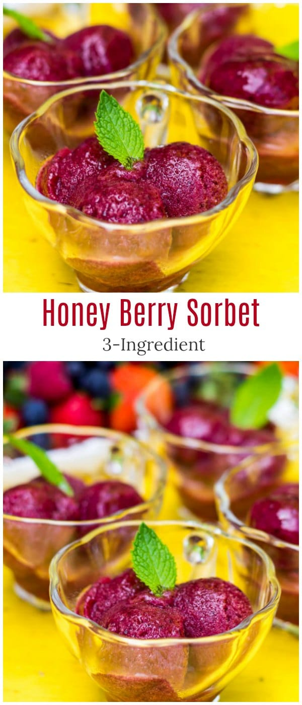 Honey Berry Sorbet - sweet and tart, absolutely refreshing summer treat with just 3 ingredients. A must try summer dessert!