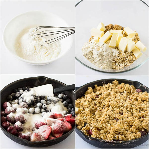 Step by step photos to make easy fruit crisp.