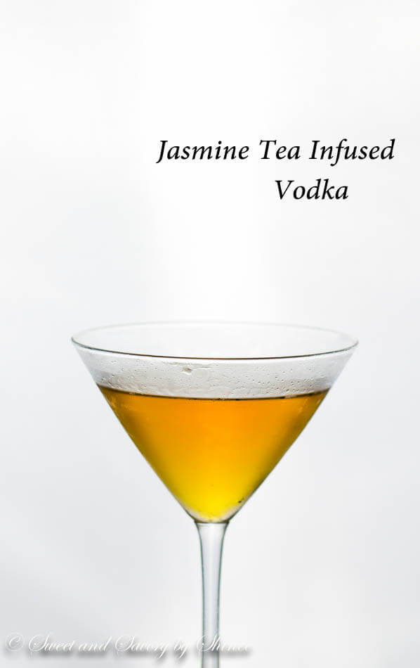 This simple jasmine martini is sweet and floral with a touch of citrus. An elegant drink made with jasmine tea-infused vodka.