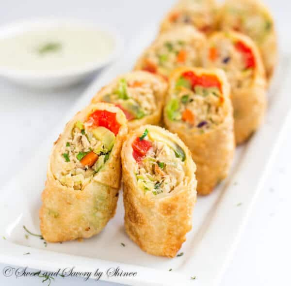 Crispy crunchy chicken avocado egg rolls are the BEST as a lunch, as a snack, as an appetizer, any time any where!